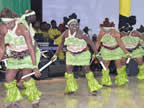 A dance troupe of Akwa Ibom State Council of Arts and Culture welcomes  visiting Ghanaian President in a State Reception for His Excellency, Dr. John Dramani Mahama, at the State Banquet Hall on April 7, 2013.