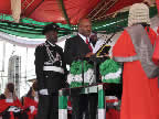 Chief Godswill Akpabio being sworn in as governor of Akwa Ibom State for a second term of office by the Chief Judge of the state, Justice Idongesit Ntemisua, at the Uyo Stadium on 29th May, 2011