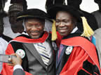 Honourary doctorate degree awardees, Sen. Udoma Udo Udoma and Sen. Ike Ekweremadu, after their conferment at UNIUYO convocation grounds during the 17th and 18th convocation ceremonies of the institution on Saturday 22nd October